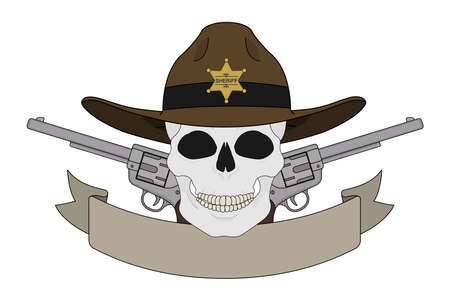 cowboy gun: Wild west sheriff emblem. Skull in hat, pistols, text ribbon. Vector illustration