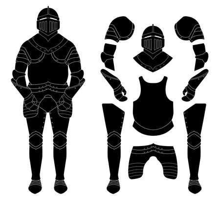 cavaliere medievale: Medievale cavaliere armatura set. Casco, spalle, guanti, corazza, gambali. Nero illustrazione vettoriale