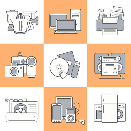 web store: Household appliances. Modern house consumer electronics web store items. Flat design linear vector gadgets icons set. Illustration