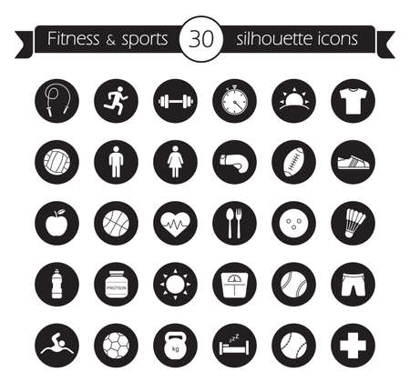 Fitness icons set. Sport and active healthy lifestyle symbols. Physical activity black circle vector illustrations isolated on white