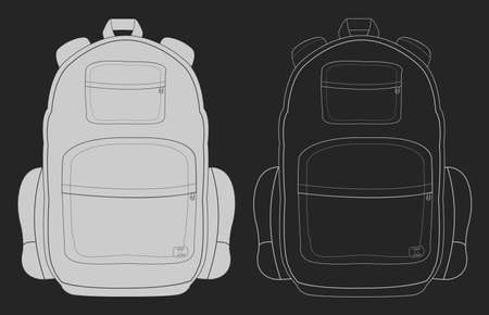 travel bag: Travel tourist camping backpack. Chalk vector illustration