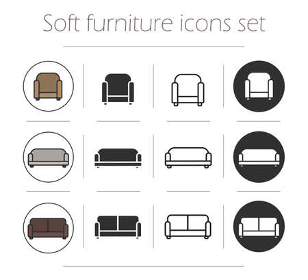 furnishing: Soft furnishing icons set. Chair, sofa, couch. Color, silhouette and line drawing. Home upholstered furniture  symbols isolated on white Illustration