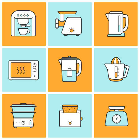 water filter: Kitchenware flat design inforgraphic color icons set. Modern kitchen appliances items. Cooking equipment. Vector