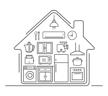 Modern kitchenware thin line icons . Kitchen interior with electronics and furniture illustration. Cooking appliances. Vector house outline drawing concept isolated on white Иллюстрация