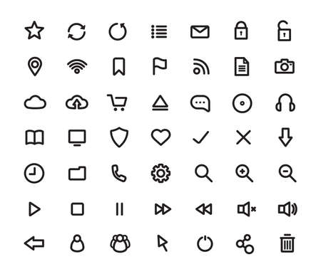 eject: Digital multimedia thick line icons set. Web user interface. Technology outline vector symbols isolated on white Illustration