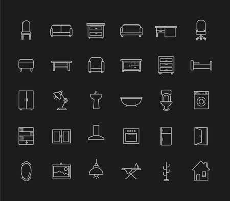 chalk line: House furniture linear icons set. Vector chalk line art isolated on blackboard