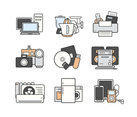 hardware store: Household modern flat design appliances color icons set