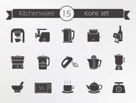 kitchen equipment: Kitchenware silhouette icons set. Kitchen equipment. Vector