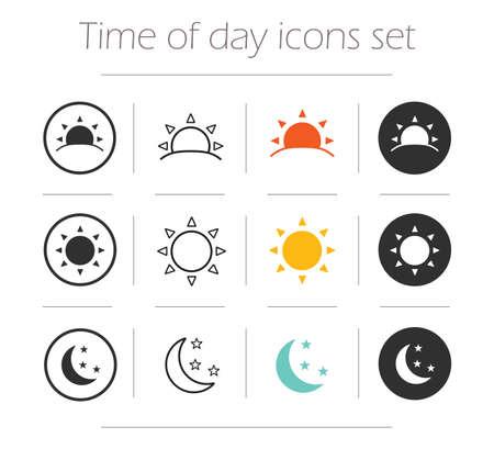 symbol: Momento della giornata semplici icone set. Alba, sole, sole, luna e stelle lineari, colori e silhouette vettore simboli isolati su bianco