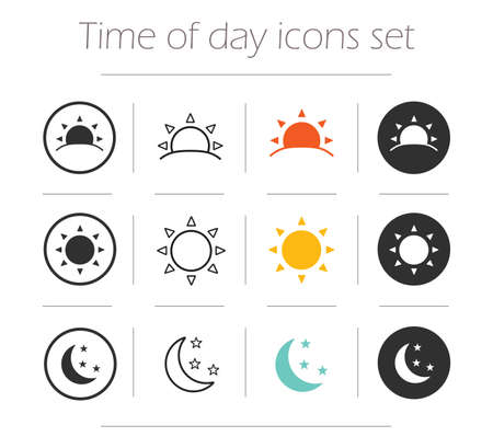 time of the day: Time of the day simple icons set. Sunrise, sun, sunshine, moon and stars linear, color and silhouette vector symbols isolated on white