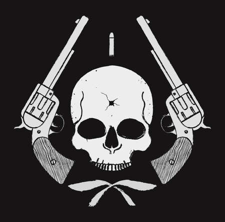 bullet hole: Wild west skull with bullet hole and 2 pistols grunge emblem. Vector illustration Illustration