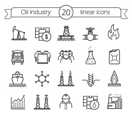 Oil industry linear icons set. Gas production, transportation, storage vector line art