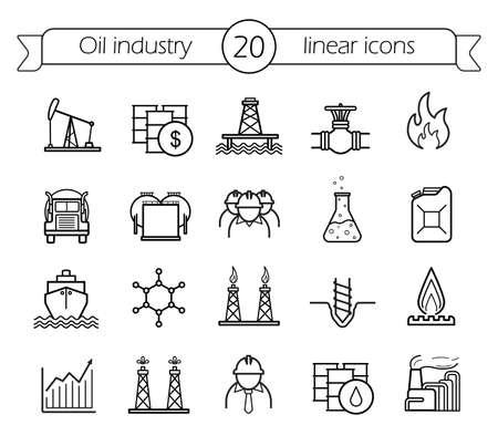 Iconos lineales industria petrolera establecen. La producción de gas, el transporte, la línea de arte vectorial de almacenamiento
