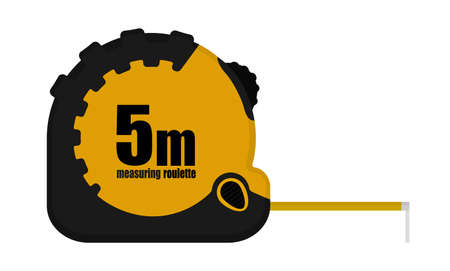 gauging: Construction measuring tape illustration. Realistic building roulette in black and yellow colors. Vector clip art isolated on white