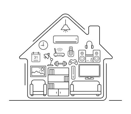 home furniture: Modern smart home thin line art icons . Home interior with electronics and furniture illustration. Living room outline concept. Vector pictogram set isolated on white