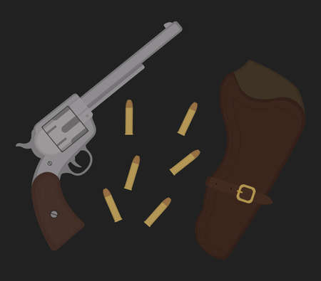 six shooter: Wild west revolver bullets and holster. Western vintage cowboy pistol vector illustration isolated on black