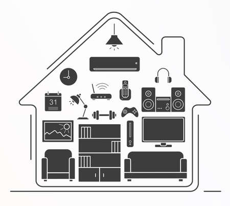 living room design: Living room interior design silhouette icons set. House furniture and appliances vector symbols isolated on white Illustration