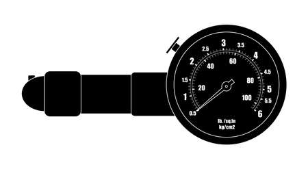 pressure gauge: Tire pressure gauge. Measurement auto service tool. Vector illustration Illustration