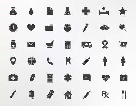 pharmacy store: Medical center silhouettes icons set. Clinical, pharmacy, medicine, hospital illustrations isolated on white Illustration