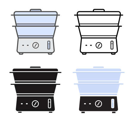 steam cooker: Kitchen electric steamer icons. Color, contour lines, silhouette. Vector clip art isolated