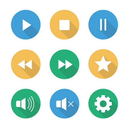 music player: Multimedia flat design long shadow icons set. Audio and video user interface buttons. Digital sound  control ui symbols. Website music player circle pictograms. Vector silhouette web elements