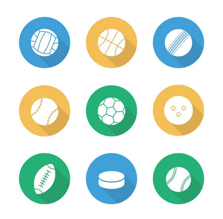 active lifestyle: Sport balls flat design icons set. Active lifestyle team play games. Football and soccer long shadow silhouettes symbols. Leisure recreational equipment illustrations. Vector infographic elements Illustration