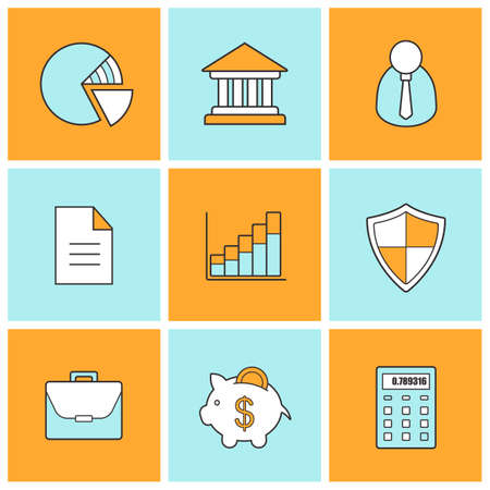 stock trading: Bank finance linear icons set. Stock trading and exchange line symbols. Forex investment market color pictograms. Online banking customer service. Money security.  Vector finance infographic elements