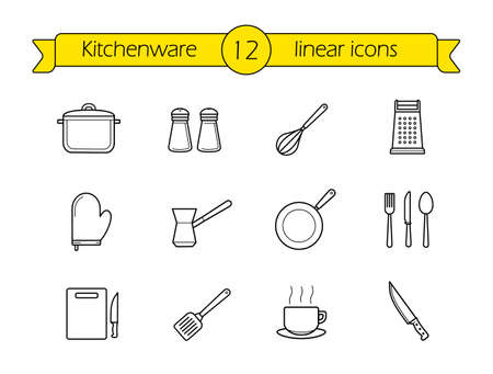 Kitchenware linear icons set. Kitchen contour line utensil. Cooking tools outline symbols. Kitchen equipment vector illustrations isolated on white Vettoriali