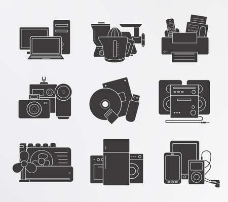 home video camera: Home electronics icons set. Household appliances silhouettes illustrations. Modern digital devices symbols isolated on white. Vector Illustration