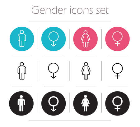 sex symbol: Gender icons set. Lady and gentleman restroom sign. Wc man and woman body shape symbols. Boy and girl silhouette. People pictograms. Contour line male and female vector illustrations isolated on white