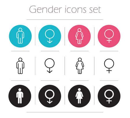 sexo femenino: Iconos de género establecidos. Señora y baño signo caballero. Hombre y mujer wc forma del cuerpo símbolos. Chico y chica silueta. Pictogramas personas. Masculino línea de contorno y de ilustraciones de vectores femeninos aislados en blanco Vectores