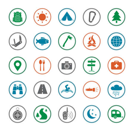 set symbols: Camping icons set. Survival and traveling silhouette color vector symbols isolated on white