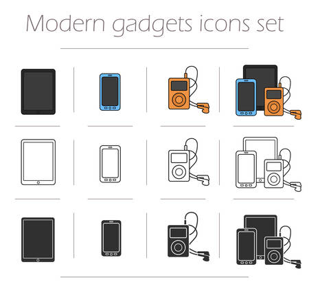 electronics icons: Gadgets icons set. Modern electronics devices symbols. Tablet pc, smart phone, mp3 player. Web store appliances items. Color, contour and silhouette illustrations isolated on white