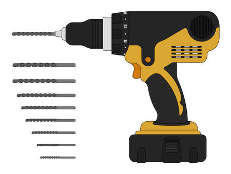 drill: Electric drill and bits. Cordless battery construction hand drill tool illustration isolated on white. Vector