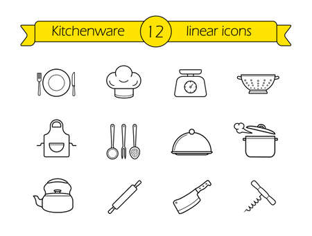 cooking utensils: Kitchenware line icons set. Restaurant cooking utensils items. Kitchen equipment linear illustration. Vector outline drawings objects isolated on white Illustration