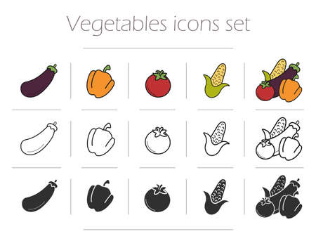 bell tomato: Vegetables icons set. Vegetarian food mix. Eggplant bell pepper, tomato and corn symbols in color, contour and silhouette. Vector illustrations isolated on white Illustration
