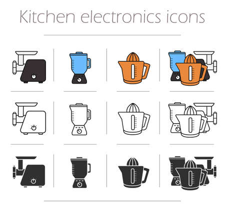 household objects equipment: Kitchen electronics icons set. Kitchenware equipment. Meat grinder, mixer, squeezer. Modern household electric tools. Vector cooking infographic color, silhouette and contour objects isolated on white Illustration