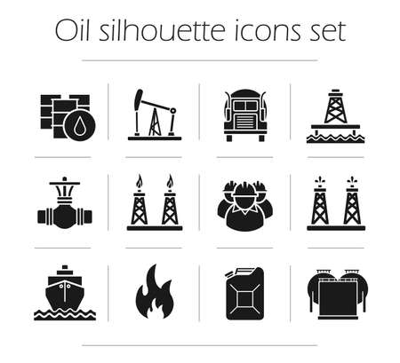 oil and gas industry: Oil production silhouette icons set. Petroleum industry. Gas production, transportation, storage vector symbols isolated on white Illustration