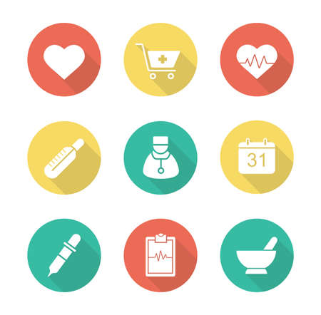 farmacia: Diseño plano Médico iconos larga sombra establecen. Centro de cardiología del Hospital. Tienda de Farmacia y hierbas de la medicina alternativa de curación. Ecg y el símbolo de latido del corazón. Elementos del vector de la silueta de infografía