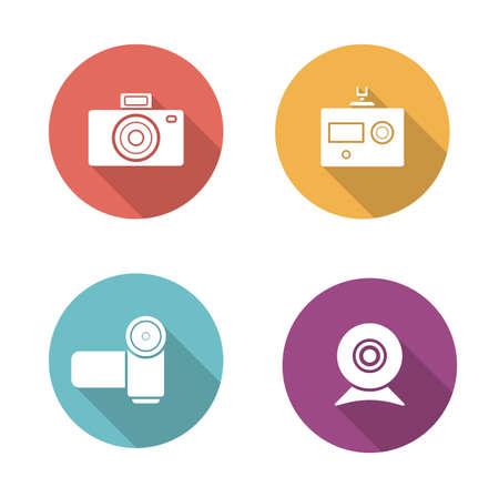 slr: Digital camera flat design icons set. Slr vintage photocamera sign. Modern action camera pictogram. Video and webcam long shadow silhouette vector equipment symbols. Infographic multimedia elements Illustration