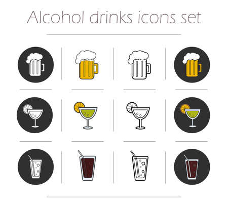 highball: Alcoholic drinks icons set. Vector beverages symbols. Beer mug, margarita cocktail, highball glass illustrations isolated on white