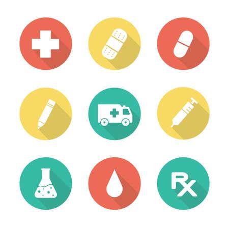 ambulancia: Diseño plano Médico iconos larga sombra establecen. Laboratorio vaso de precipitados de investigación clínica. Medicina símbolo receta. Silueta Coche de la ambulancia. Inyección pictograma jeringa. Elementos infográficos Vectores