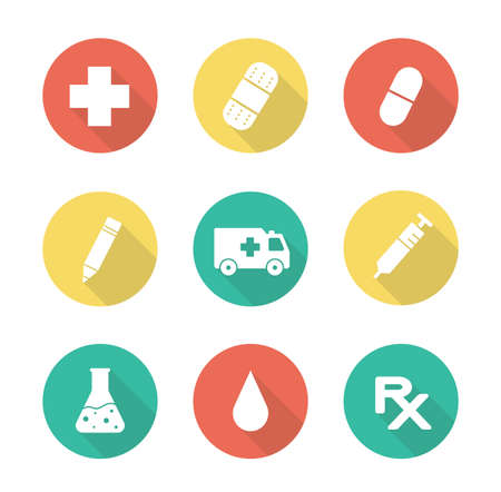 clinical research: Medical flat design long shadow icons set. Laboratory clinical research beaker. Medicine prescription symbol. Ambulance car silhouette. Injection syringe pictogram. Vector infographic elements
