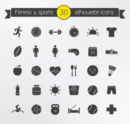 actividades recreativas: Fitness silhouette icons set. Active healthy lifestyle. Physical exercise equipment. Diet healthcare nutrition. Weight loss recreational activities. Sport and leisure games. Isolated vector symbols