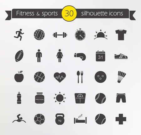actividades recreativas: Iconos fitness silueta conjunto. Estilo de vida saludable activa. Equipo de ejercicio físico. Dieta nutrición de la salud. Actividades recreativas pérdida de peso. Deporte y ocio juegos. Símbolos vectoriales aislados