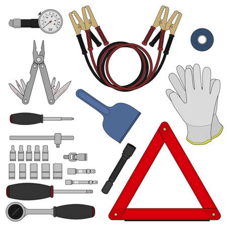 objects: Emergency car kit. Auto repair workshop instruments and accessories set. Vehicle service equipment. Road urgency supplies. Repair tools. Warning triangle accident sign. Isolated vector illustrations Illustration