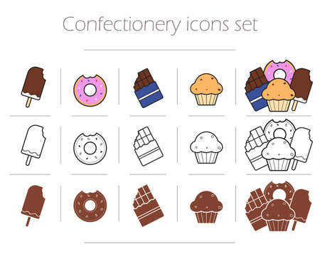 chocolate bar: Confectionery icons set. Ice cream thin line drawing symbol. Bitten sweet donut color illustration. Cupcake and chocolate bar silhouette contour pictograms. Food infographics isolated vector elements
