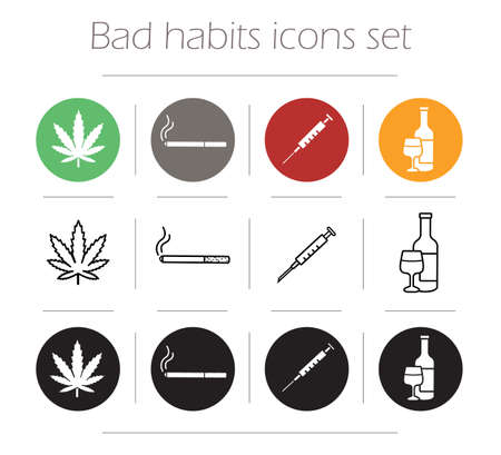 drogadiccion: Iconos Malos h�bitos establecidos. La marihuana hoja dise�o plano pictograma. Drogas jeringa de inyecci�n y fumar cigarrillos s�mbolos de l�nea de contorno. Alcohol ilustraci�n botella silueta. Signos vector drogadicci�n