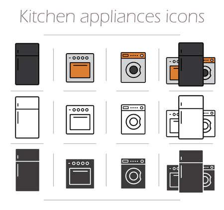 dibujo: Electrodom�sticos de cocina iconos conjunto. Art�culos de electr�nica de consumo de los hogares. Utensilios de cocina s�mbolos de dibujo de l�neas. Horno de casa moderna, lavadora y nevera. Vector color y silueta aislado ilustraciones