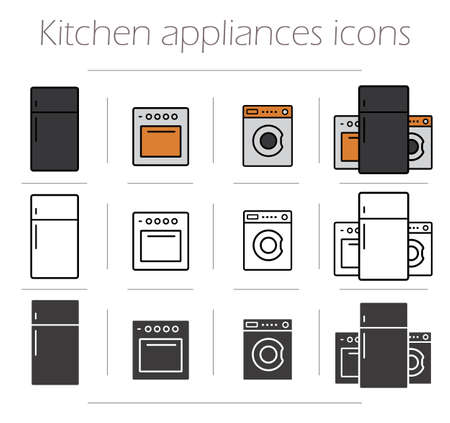 consumer electronics: Kitchen appliances icons set. Household consumer electronics items. Kitchenware line drawing symbols. Modern home oven, washing machine and fridge. Vector color and silhouette isolated illustrations